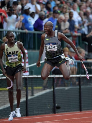 July 9, 2016; Eugene, Ore.; Bernard Lagat leaps after winning the 5,000-meter final in the 2016 U.S. Olympic Track and Field Trials at Hayward Field.