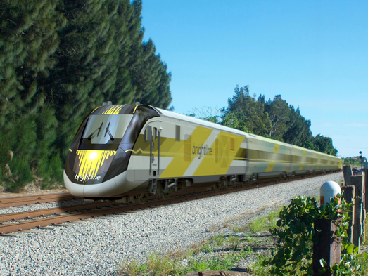 A rendering of the Brightline train that will connect
