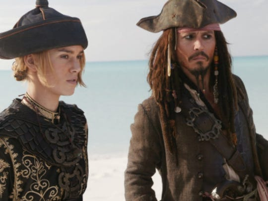"""Pirates of the Caribbean: At World's End"" with Keira Knightley and Johnny Depp as Captain Jack Sparrow."