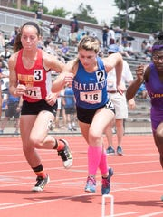 Haldane's Abbey Stowell (center) competing in the girls pentathlon at the NYSPHSAA track and field championships that took place at Union Endicott HIgh School on Saturday June 10, 2017