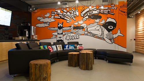 A lobby mural at HootSuite.
