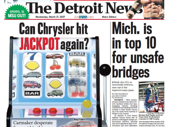View the front page of The Detroit News each day of the week of March 19, 2007.