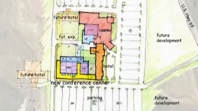 A map presented to the Pittsburg City Commission this week by the firm Hunden Strategic Partners shows the proposed location of a $24 million conference center adjacent to the Hampton Inn & Suites at Kansas Crossing Casino.