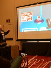 Brian Auker, chief technology officer for Westfield Public Schools, gives a presentation at TECHSPO '18 in Jan. on the pioneering use of digital electricity and other technological breakthroughs.