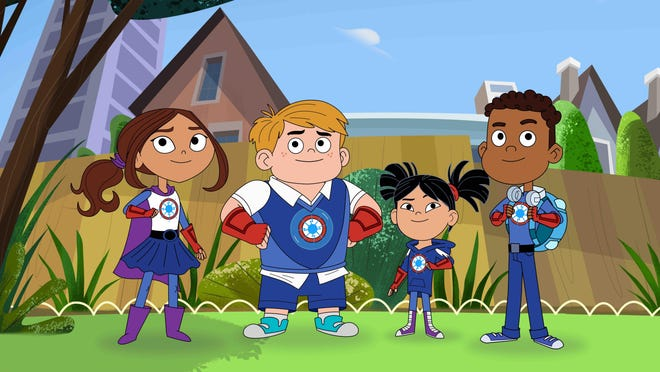 "Characters from the PBS Kids series ""Hero Elementary,"" from left, Lucita Sky, Benny Bubbles, Sara Snap and AJ Gadgets."