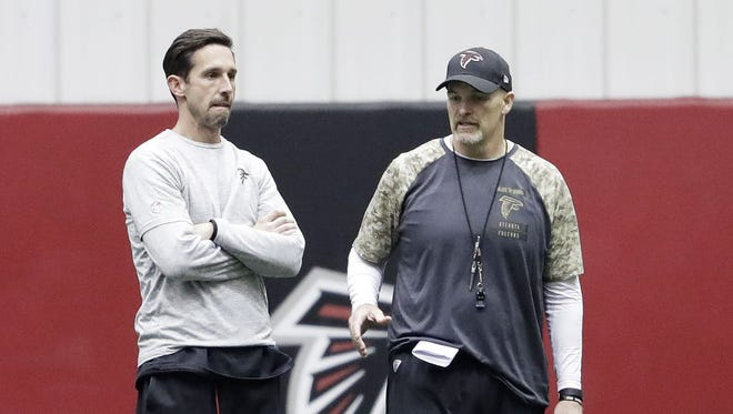 Falcons offensive coordinator Kyle Shanahan, left, seemingly has one game left on Dan Quinn's staff.