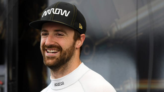 FILE --  IndyCar Series driver James Hinchcliffe (5) during practice for the KOHLER Grand Prix at Road America. Mandatory Credit: Mike DiNovo-USA TODAY Sports