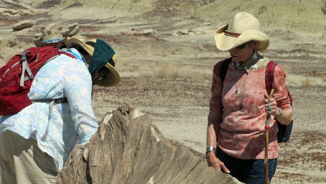 "Encore students Verlene Mott and Charlotte Hebert inspect a petrified tree stump in the Bisti/De-Na-Zin Wilderness during last year's ""Using GPS Technology and Maps to Explore the Bisti"" class."