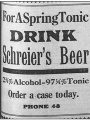 "Schreier's Beer advertises its brew as a ""spring tonic"""