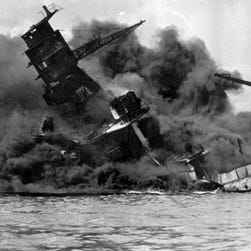 Smoke billows from the USS Arizona after the Japanese attack on Pearl Harbor on Dec. 7, 1941.