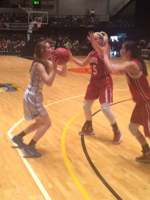 Catholic's Michaelyn Foster shoots against UMS-Wright in the Class 4A South Regional in Dothan.