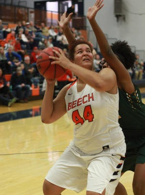 Beech's Destuny Tinker looks for room to shoot against Gallatin on Fri. Dec. 8, 2017.  Photo by Dave Cardaciotto