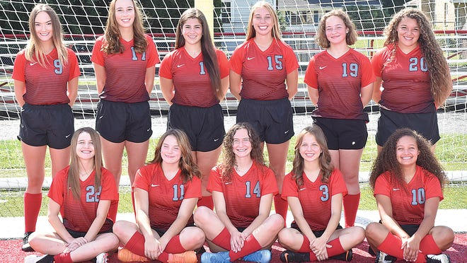 Returning letter winners for the 2020 Minerva girls soccer team are (front row, left to right) Jadyn Schafer, Bella LaCaze, Alex Ault, Avrielle McGrew and Braelynn Kirkpatrick; and (back row) Julia Miller, Amaya Lewis, Molly Boldizar, Alyssa Risden, Abi Hein and Kyrie Kirkpatrick.