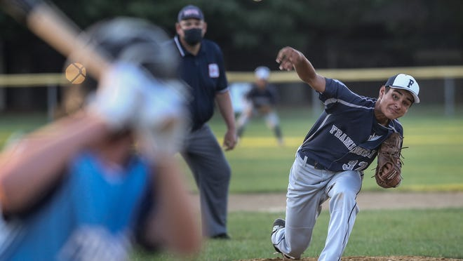 Framingham's Nick Parga delivers a pitch during a Senior Babe Ruth game against Franklin at Bowditch Field on July 21, 2020.