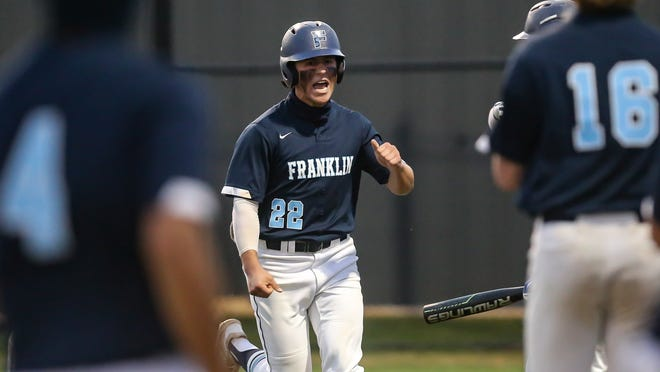 Franklin's Will Pacheco scores during the first round of the Massachusetts Independent Baseball League double-elimination playoffs at Franklin High School on Thursday.