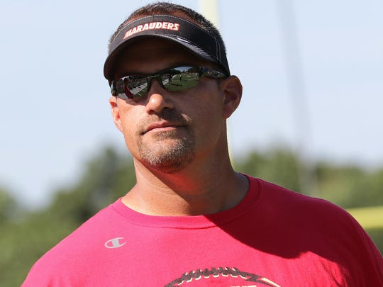 Mount Olive head coach Brian O'Connor, Saturday, August 27, 2016. Rockaway, NJ. For the Daily Record/MOR 0908 FBTAB MH-MO scrimmage