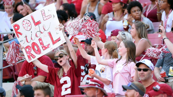 Sep 7, 2019; Tuscaloosa, AL, USA; Alabama Crimson Tide fans cheer on their team against the New Mexico State Aggies during the third quarter at Bryant-Denny Stadium. Mandatory Credit: John David Mercer-USA TODAY Sports