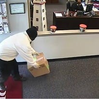 A surveillance photo of the suspect in the Wednesday morning BB&T bank robbery in Princess Anne.