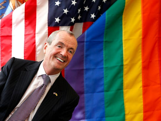 Prior to his election, candidate Phil Murphy spoke during a roundtable discussion at Garden State Equality in Asbury Park on April 13, 2017.