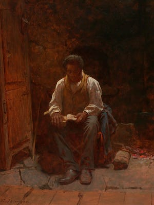 """""""The Lord Is My Shepherd"""" is the title of this 1863 painting by American Eastman Johnson (1824–1906). The painting depicts a slave reading the Bible and was painted soon after the Emancipation Proclamation."""