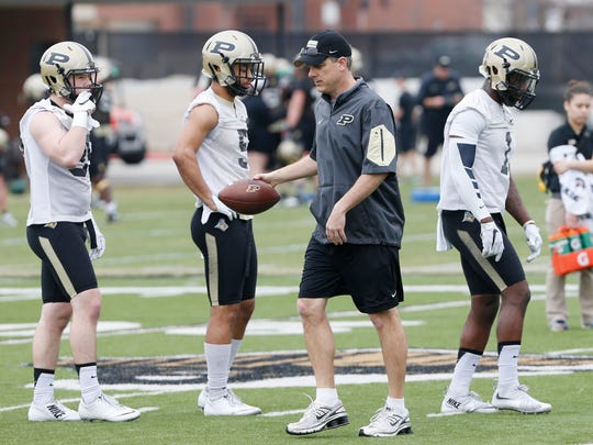 Defensive coordinator/safeties coach Ross Els during spring football practice Wednesday, March 9, 2016, at Purdue University.