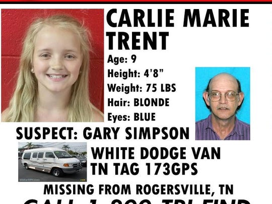 An AMBER Alert issued by the Tennessee Bureau of Investigation on behalf of the Rogersville Police Department, remains in effect for 9-year-old Carlie Marie Trent, the TBI said Friday.