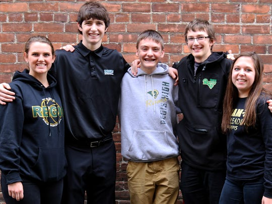 Regis High School in Stayton sent student ambassadors to enthuse about the school's upcoming Information Day on Sunday, Jan. 31. The students are from left Emma Van Veen, 18; Sam Nieslanik, 17; Ryan Hill, 16; Stephen Philippi, 16; and Claire Peters, 17.