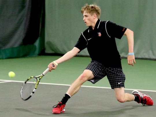 Sprague's Logan Blair competes in the Sprague vs. McKay boy's tennis meet at the Courthouse Tennis Center in Salem on Thursday, May 5, 2016.