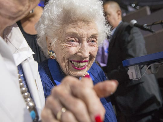 Jerry Emmett, the 102-year-old honorary chair of the Arizona Democratic delegation, cheers for Hillary at the Democratic National Convention in Philadelphia on Tuesday, July 26, 2016.