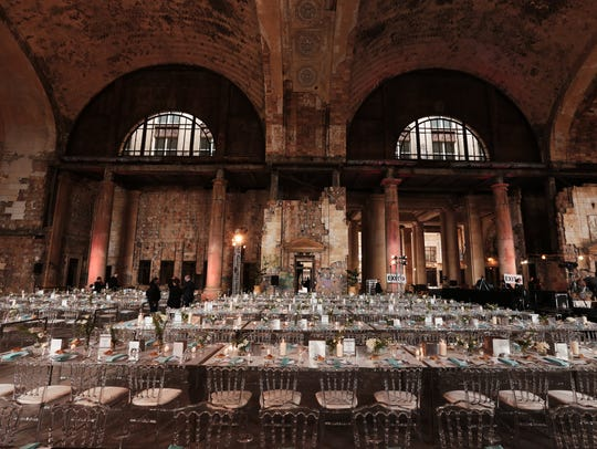 Dinner tables are set up inside the Michigan Central Station on Sept. 13, 2017, during Crain's Detroit Homecoming IV event.