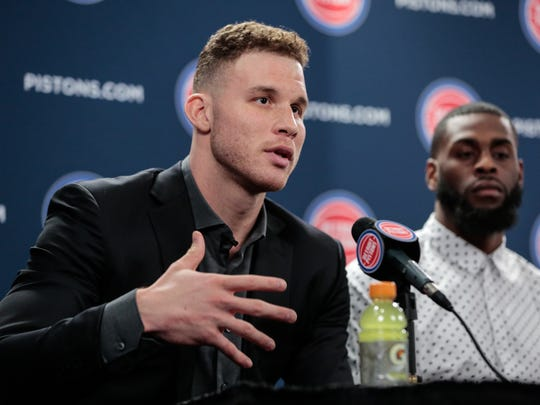 Blake Griffin answers questions from reporters Jan. 31 at the Palace.