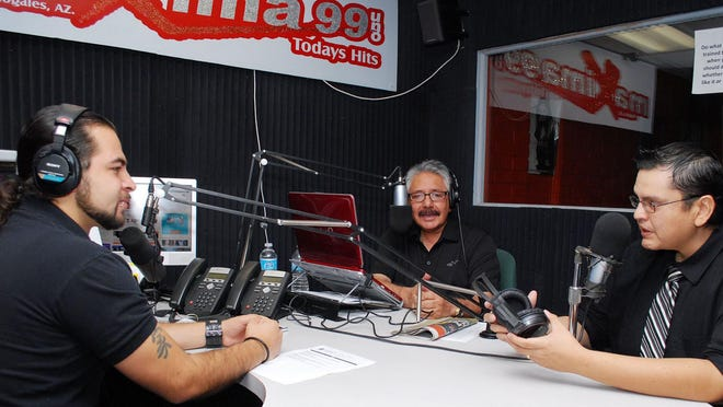 """Left to right: Hosts Diego Diez and Oscar Felix, and political analyst Jose """"Mucho"""" Martinez. Máxima 99 Uno radio personalities, from left to right, Diego Diez, Oscar Felix Sr., and Jose """"Mucho"""" Martinez claim that the Nogales City Council is trying to infringe upon their freedom of speech."""