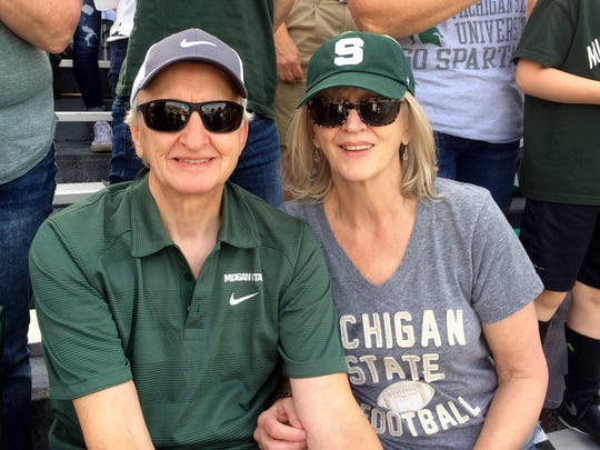 Ronnie Morris with his wife Barb at the MSU Homecoming