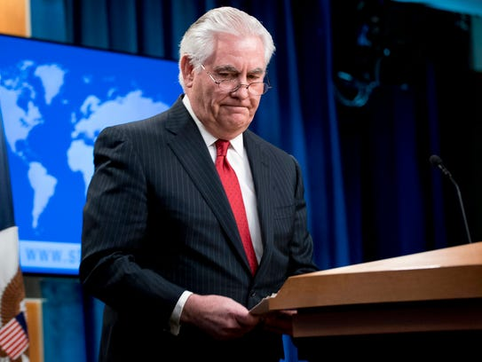 Secretary of State Rex Tillerson steps away from the