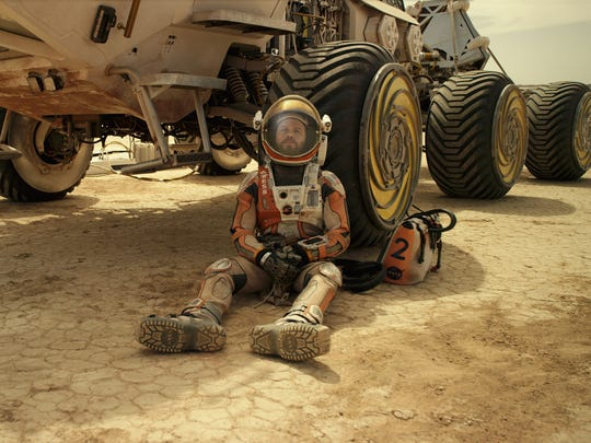"Matt Damon in a scene from ""The Martian."""