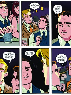 """A panel from """"Liebestrasse."""" Set in the 1930s, this narrative features Samuel Wells, who travels to Berlin as part of his job for an American bank. He meets an art dealer named Philip Adler, and there is an immediate spark."""