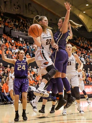 Oregon State guard Kat Tudor passes the ball under the basket while guarded by Washington's Amber Melgoza in an NCAA college basketball game in Corvallis, Ore., Friday, Dec. 29, 2017.