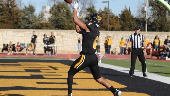 Fort Hays State University wide receiver Manny Ramsey catches the ball for a touchdown against Northwest Missouri last season at Lewis Field Stadium in Hays. The MIAA announced the suspension of all fall sports until at least Jan. 1, 2021.