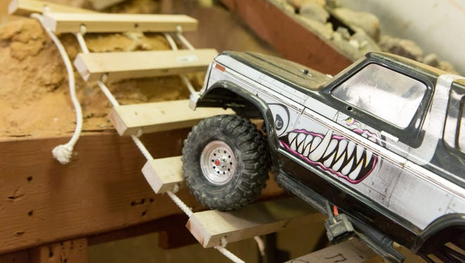An RC vehicle scales a bridge on the rock crawler track on  Monday, July 2, 2018 at 3 Crosses RC Racing and Repair located at 522 E. Idaho Ave.