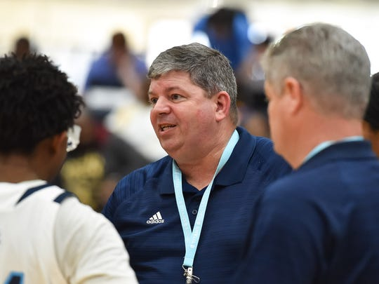 Ridgeland head coach Wade Hawkins gives instructions to his team during a time out against North Pike during the MHSAA Girls 5A Tournament held at Jackson State in Jackson MS.(Photo/Bob Smith)
