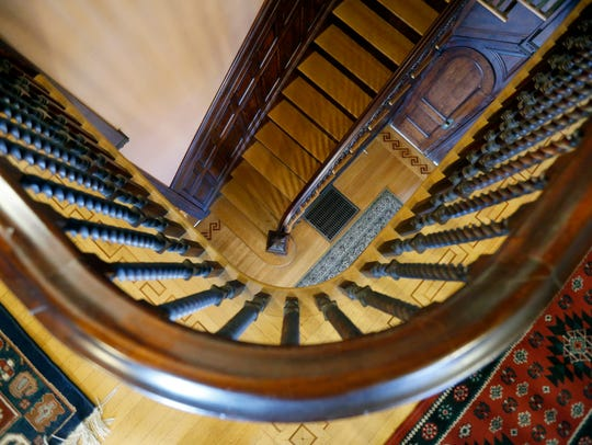 The staircase at the Senator's Mansion in Churchville.