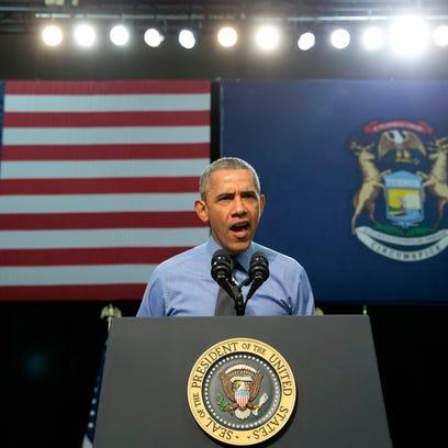 President Barack Obama speaks at Flint Northwestern