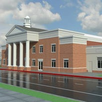 An artist's rendering shows the new Athlos Academy building being constructed in St. Cloud.