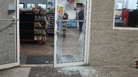 The door glass was shattered at the Nixville Country Store early this week during an attempted robbery that the Hampton County Sheriff's Office is investigating.