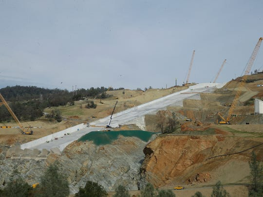 Work continues on the Oroville Dam spillway on Thursday