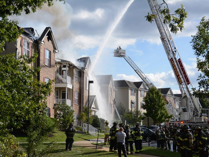 Fire scene at the Covington Village condominium complex