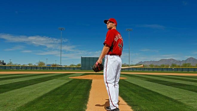 Diamondbacks' Paul Goldschmidt poses Monday, March 10, 2014 at  Salt River Fields at Talking Stick, Arizona.