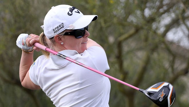 Morgan Pressel hits a tee shot on the fifth hole during the first round of the JTBC LPGA Founders Cup at Wildfire Golf Club on March 20, 2014 in Phoenix, Arizona.