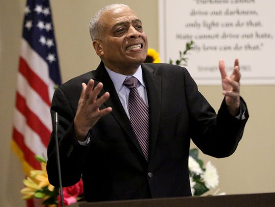 Chairman of the People's Organization for Progress, Lawrence Hamm, speaks at the Annual Dr. Martin Luther King, Jr. Day of Celebration at Clara Maass Medical Center in Belleville on Monday, Feb. 12, 2018.