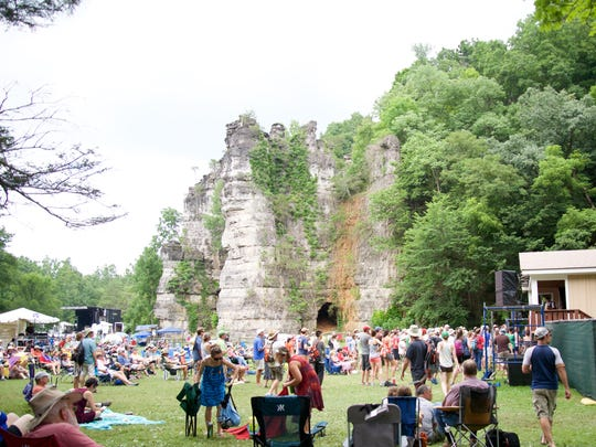 Patrons gather at the third Red Wing Roots Festival at Natural Chimneys in Mount Solon on Sunday, July 12, 2015.